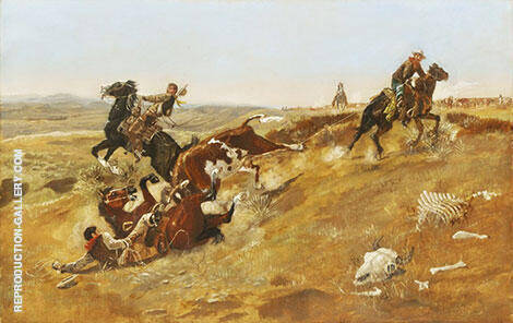 Cowpunching Sometimes Spells Trouble 1889 By Charles M Russell - Oil Paintings & Art Reproductions - Reproduction Gallery