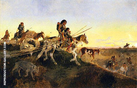 Seeking New Hunting Grounds 1891 By Charles M Russell - Oil Paintings & Art Reproductions - Reproduction Gallery