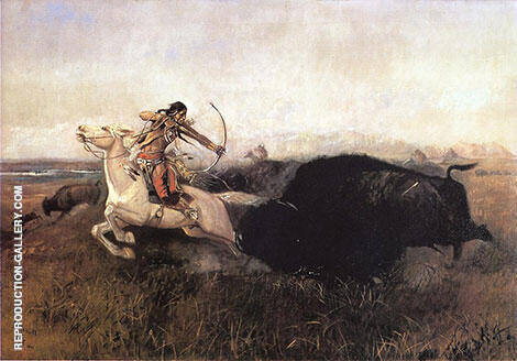 Indians Hunting Buffalo 1894 Painting By Charles M Russell