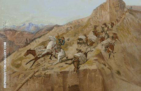 Attack on the Mule Train 1891 Painting By Charles M Russell