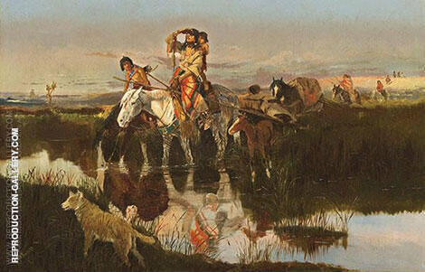 Bringing Up the Trail 1895 Painting By Charles M Russell