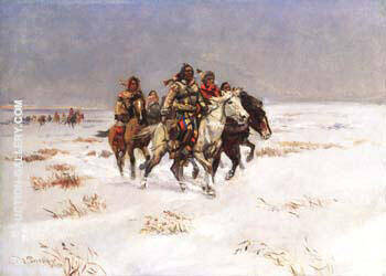 The Snow Trail 1897 Painting By Charles M Russell - Reproduction Gallery