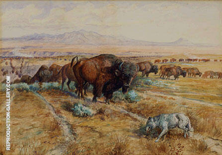Guardian of the Herd 1899 By Charles M Russell - Oil Paintings & Art Reproductions - Reproduction Gallery