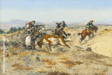 Reproduction of When Cowboys Get in Trouble 1899 by Charles M Russell | Oil Painting Replica On CanvasReproduction Gallery