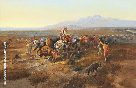 Returning to Camp 1901 By Charles M Russell - Oil Paintings & Art Reproductions - Reproduction Gallery