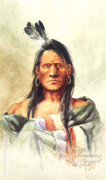 Indian Head 1904 Painting By Charles M Russell - Reproduction Gallery
