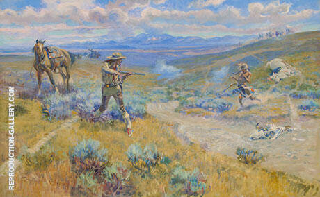 Buffalo Bill's Duel with Yellowhand 1917 Painting By Charles M Russell