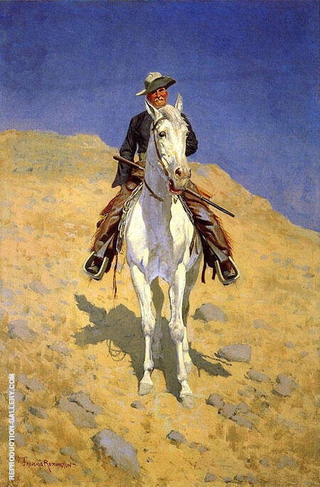 Self-Portrait on a Horse 1890 By Frederic Remington - Oil Paintings & Art Reproductions - Reproduction Gallery