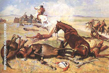 He Rushed the Pony Right to the Barricade 1900 By Frederic Remington Replica Paintings on Canvas - Reproduction Gallery