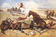 He Rushed the Pony Right to the Barricade 1900 By Frederic Remington