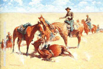 Among the Led Horses 1909 Painting By Frederic Remington