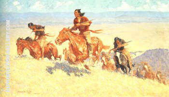 Buffalo Runners-Big Horm Basin 1909 By Frederic Remington - Oil Paintings & Art Reproductions - Reproduction Gallery