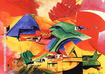 Fish Fight 1917 Painting By Max Ernst - Reproduction Gallery