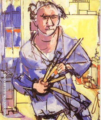 Self-Portrait with Brushes, 1942 Painting By Hans Hofmann