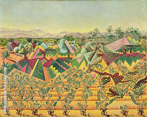 Montroig Vineyards and Olive Tree 1919 Painting By Joan Miro