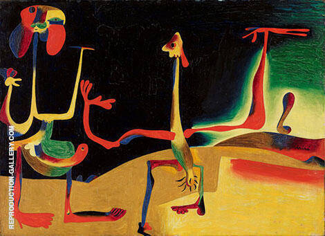 Man and Woman in Front of a Pile of Excrement  1936 By Joan Miro - Oil Paintings & Art Reproductions - Reproduction Gallery