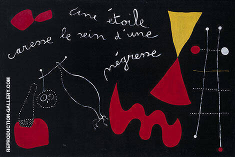 Reproduction of A Star Caresses the Breasts of a Negro Woman 1938 by Joan Miro | Oil Painting Replica On CanvasReproduction Gallery