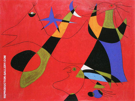 Personage on a Red Ground 1938 By Joan Miro