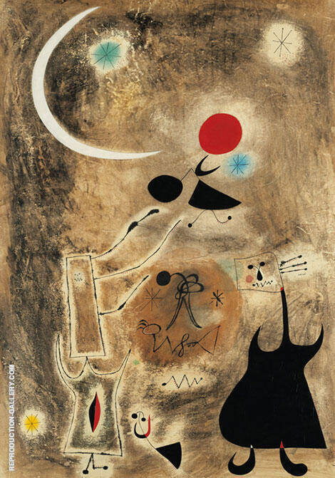 Woman and Bird in Front of the Sun 1942 Painting By Joan Miro