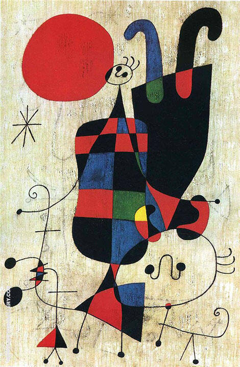 Figures and Dog in Front of the Sun 1949 By Joan Miro