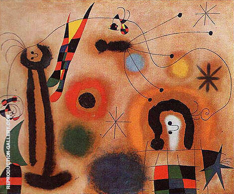 Dragonfly with Red-Tipped Wing in Pursuit of a Surpent Spiralling Toward a Comet 1951 By Joan Miro Replica Paintings on Canvas - Reproduction Gallery
