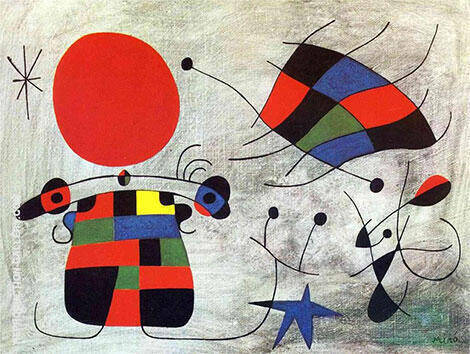 The Smile of the Flamboyant Wings 1953 By Joan Miro Replica Paintings on Canvas - Reproduction Gallery