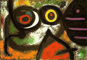 Woman and Birds 1966 By Joan Miro