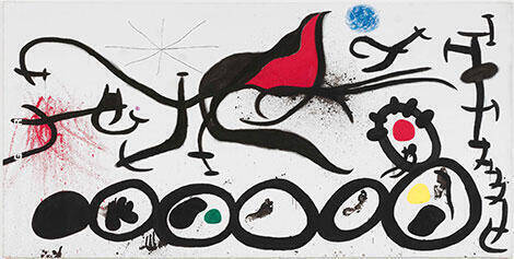 The Sorrowful March Guided by the Flamboyant Bird of the Desert By Joan Miro