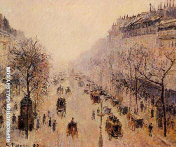 Boulevard Montmartre Morning, Sunlight and Mist 1897 By Camille Pissarro - Oil Paintings & Art Reproductions - Reproduction Gallery