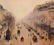 Boulevard Montmartre Morning, Sunlight and Mist 1897 By Camille Pissarro
