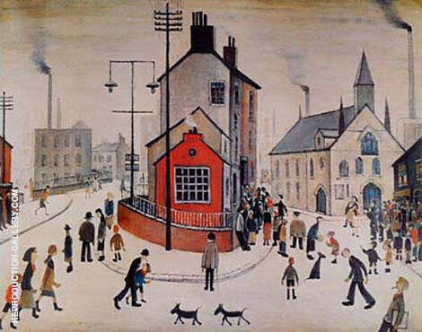 A Street In Clitheroe By L-S-Lowry Replica Paintings on Canvas - Reproduction Gallery