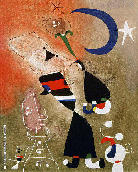 Woman and Bird in the Moonlight 1949 By Joan Miro