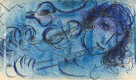 The Flute Player 1957 By Marc Chagall - Oil Paintings & Art Reproductions - Reproduction Gallery