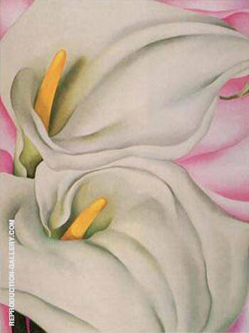 Two Calla Lillies On Pink Painting By Georgia O'Keeffe