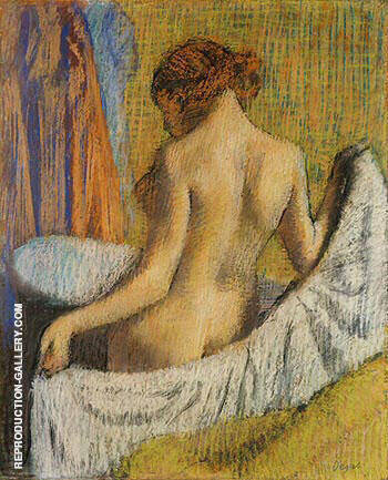 After the Bath, Woman with a Towel By Edgar Degas