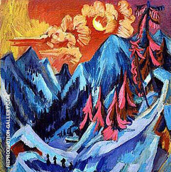 Winter Moon Landscape 1919 By Ernst Kirchner Replica Paintings on Canvas - Reproduction Gallery