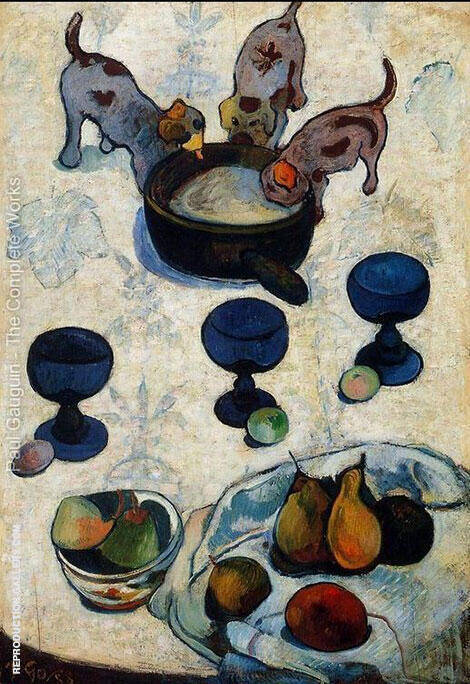 Still Life with Three Puppies 1888 By Paul Gauguin Replica Paintings on Canvas - Reproduction Gallery