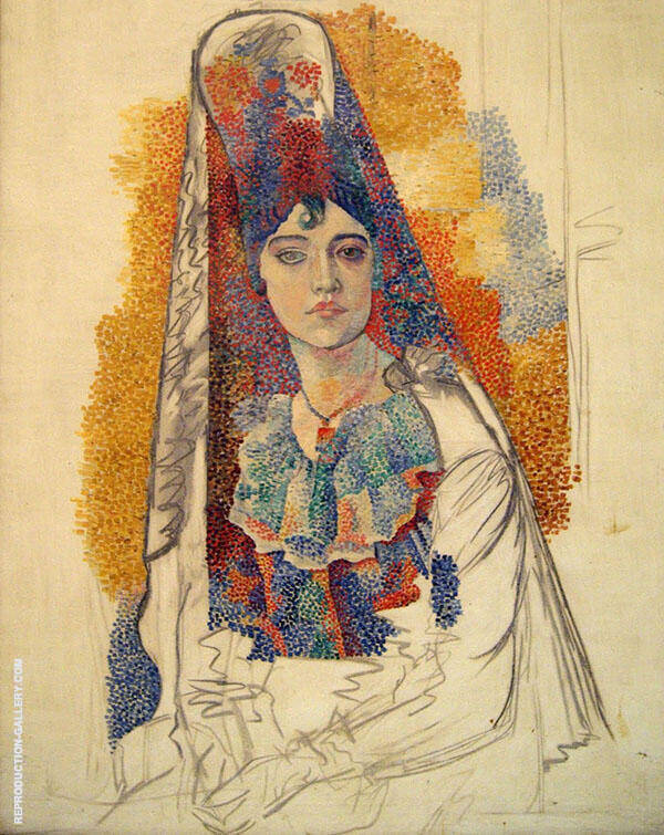 Woman in a Mantilla (La Salchichona) 1917 By Pablo Picasso