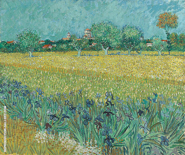 View of Arles with Irises Near Arles 1888 By Vincent van Gogh