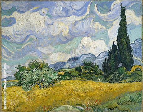 Wheat Field with Cypresses 1889 By Vincent van Gogh