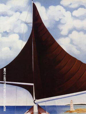 Brown Sail, Wing on Wing, Nassau Painting By Georgia O'Keeffe