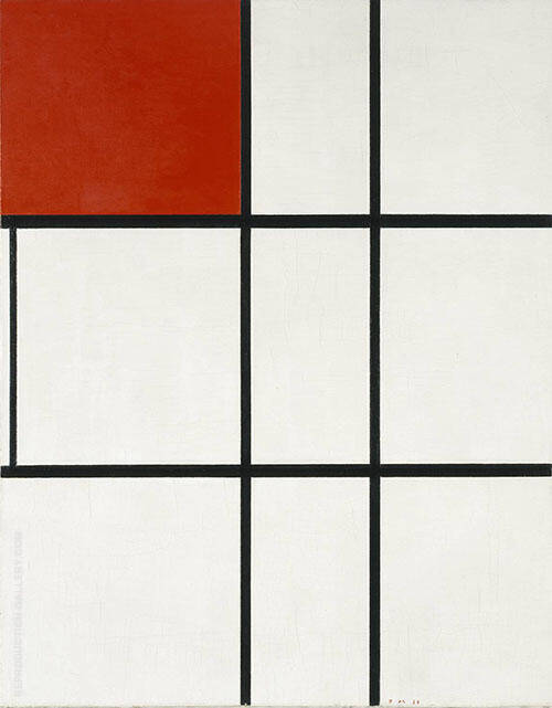 Composition B with Red Painting By Piet Mondrian - Reproduction Gallery