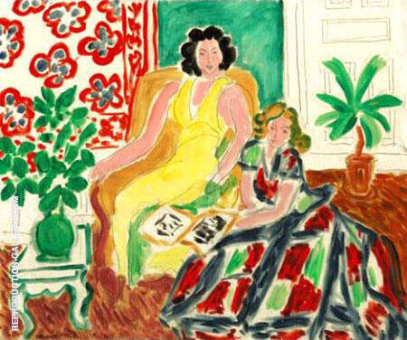 Robe Jaune Et Robe Arlequin 1940 By Henri Matisse - Oil Paintings & Art Reproductions - Reproduction Gallery