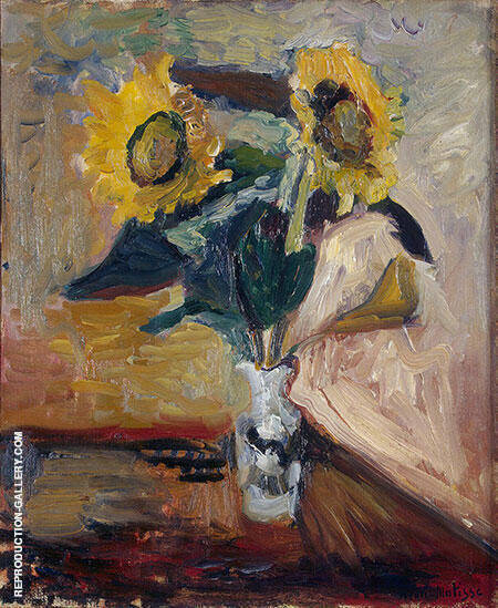 Vase with Sunflowers 1898 Painting By Henri Matisse - Reproduction Gallery