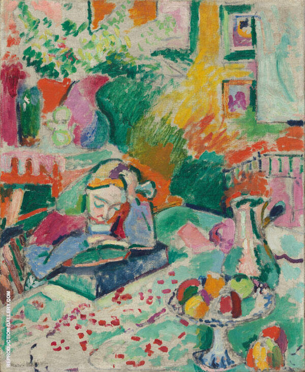 Interior with a Young Girl Reading c1905 Painting By Henri Matisse