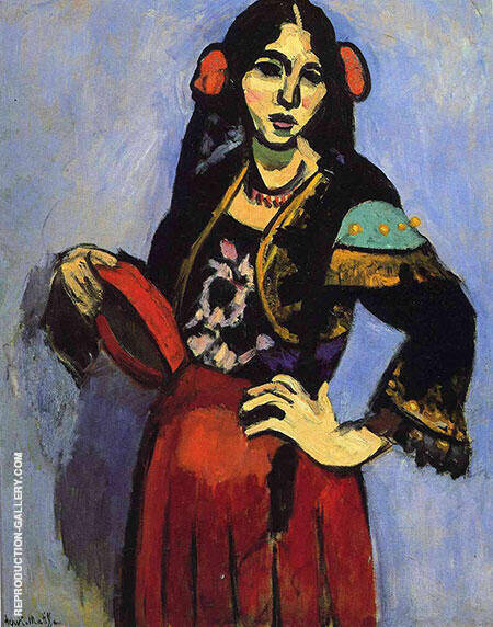 Spanish Woman with a Tambourine 1909 By Henri Matisse - Oil Paintings & Art Reproductions - Reproduction Gallery