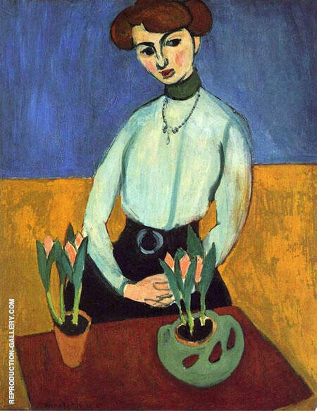 Reproduction of Girl with Tulips Jeanne Vaderin 1910 by Henri Matisse | Oil Painting Replica On CanvasReproduction Gallery