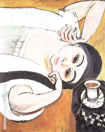 Reproduction of Reclining Laurette with a Cup of Coffee 1917 by Henri Matisse | Oil Painting Replica On CanvasReproduction Gallery