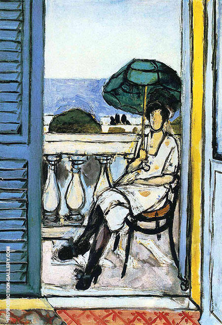 Women with a Green Parasol on a Balcony 1918 Painting By Henri Matisse