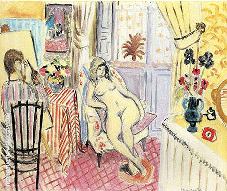 The Painter and His Model Studio Interior 1920 By Henri Matisse - Oil Paintings & Art Reproductions - Reproduction Gallery